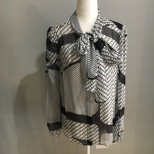 DVF sheer button-front tie-neck silk blouse